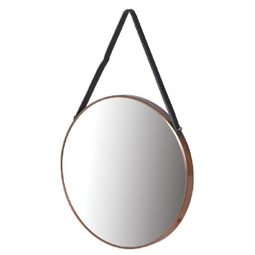 Large Round Copper Edged Hanging Mirror